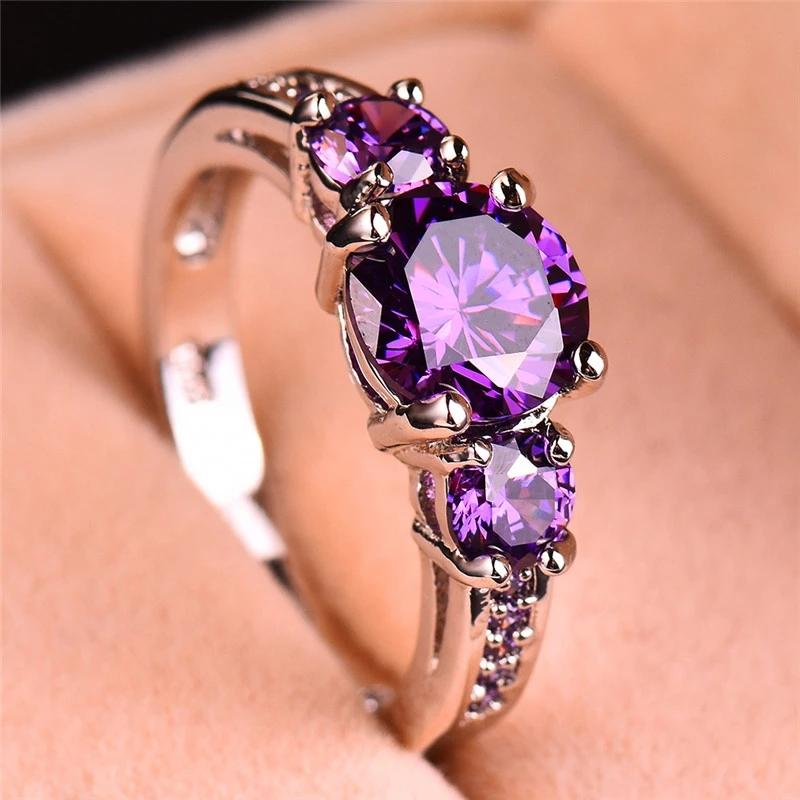 Amethyst Silver Plated Ring