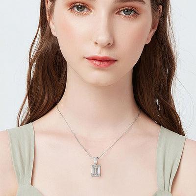 Square Cut Ice Candy Sterling Silver Necklace