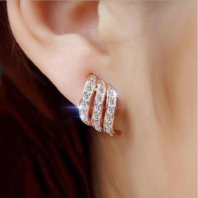Creative Three-rows Of Zircon Earrings