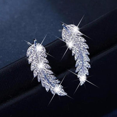 Fashion Micro-inlaid Zircon Leaf Earrings