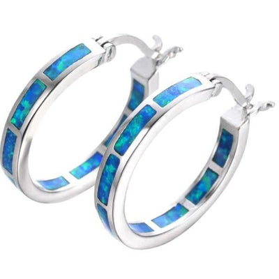 Silver Opal Circle Earrings
