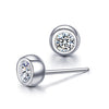 Cute Round Cut Sterling Silver Stud Earrings