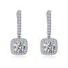 Luxury Halo Round Stone Sterling Silver Earrings