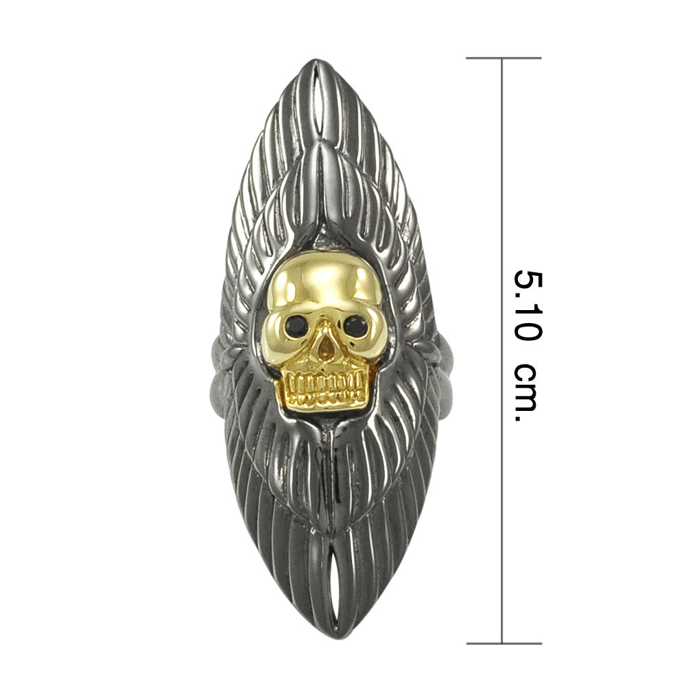 Winged Skull Gold and Black Rhodium Plate over Alloy Ring by Amy Zerner ARI1199