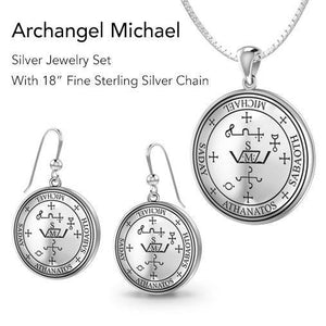 Archangel Michael Sigil Jewelry Pendant and Earrings Sets