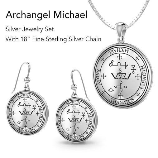 Archangel Michael Sigil Jewelry Pendant and Earrings Sets peterstone.