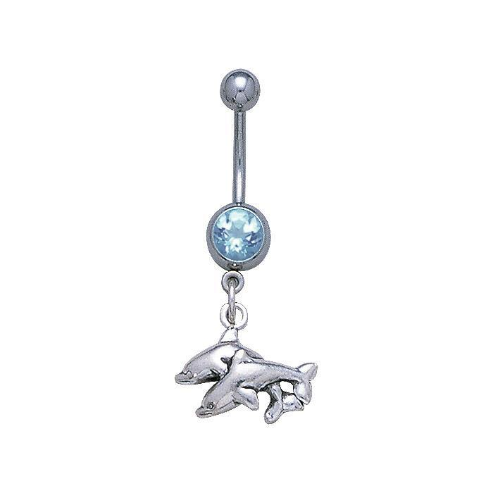 Double Dolphins Sterling Silver Body Jewelry BJ023 peterstone.
