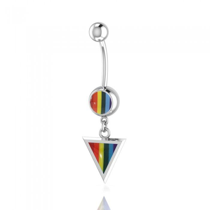 Rainbow Triangle Silver Belly Button Ring Peter Stone Jewelry