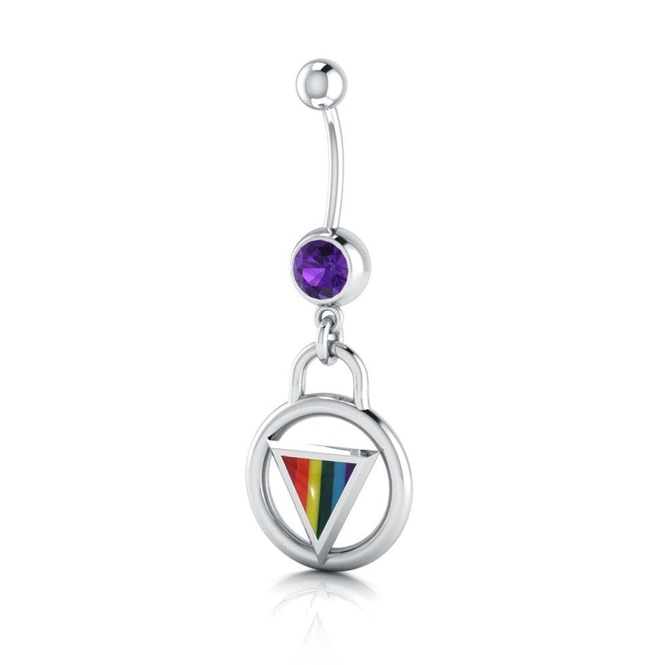 Rainbow Encircled Triangle Belly Button Body Jewelry BJ025