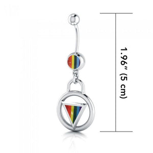 Rainbow Encircled Triangle Belly Button Ring BJ025