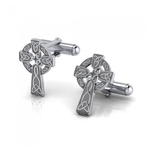 Celtic Cross with Celtic Knotwork Silver Cufflinks CL043