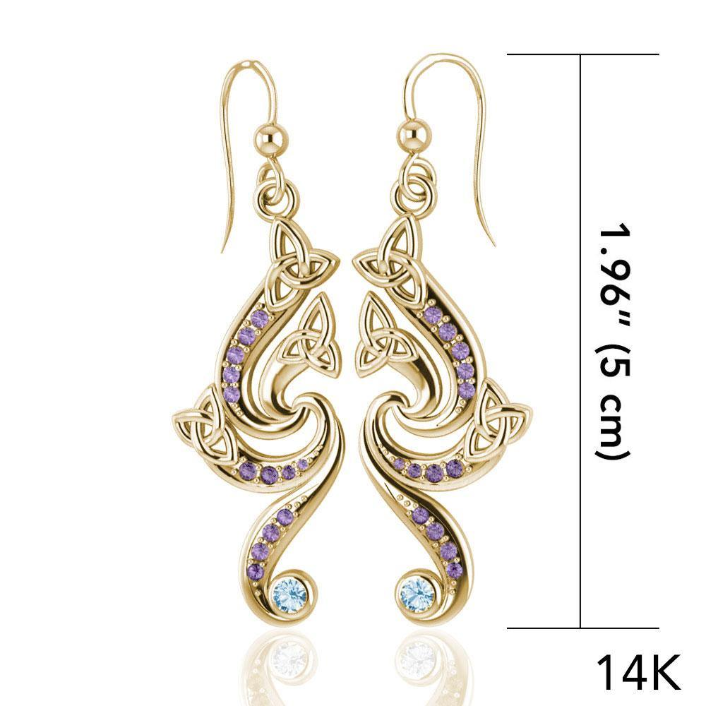 A dazzling eternity Gold Celtic Triquetra Dangle Earrings with Gemstone GER569