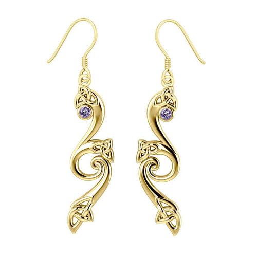 Modern Celtic Triskele Solid Gold Earrings GER570 Earrings