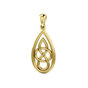 Teardrop Celtic Knotwork Solid Gold Pendant GPD4197 Pendant