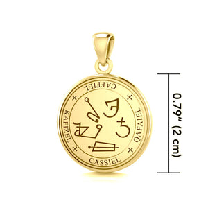 Sigil of the Archangel Cassiel Solid Gold Small Pendant GPD4584 peterstone.