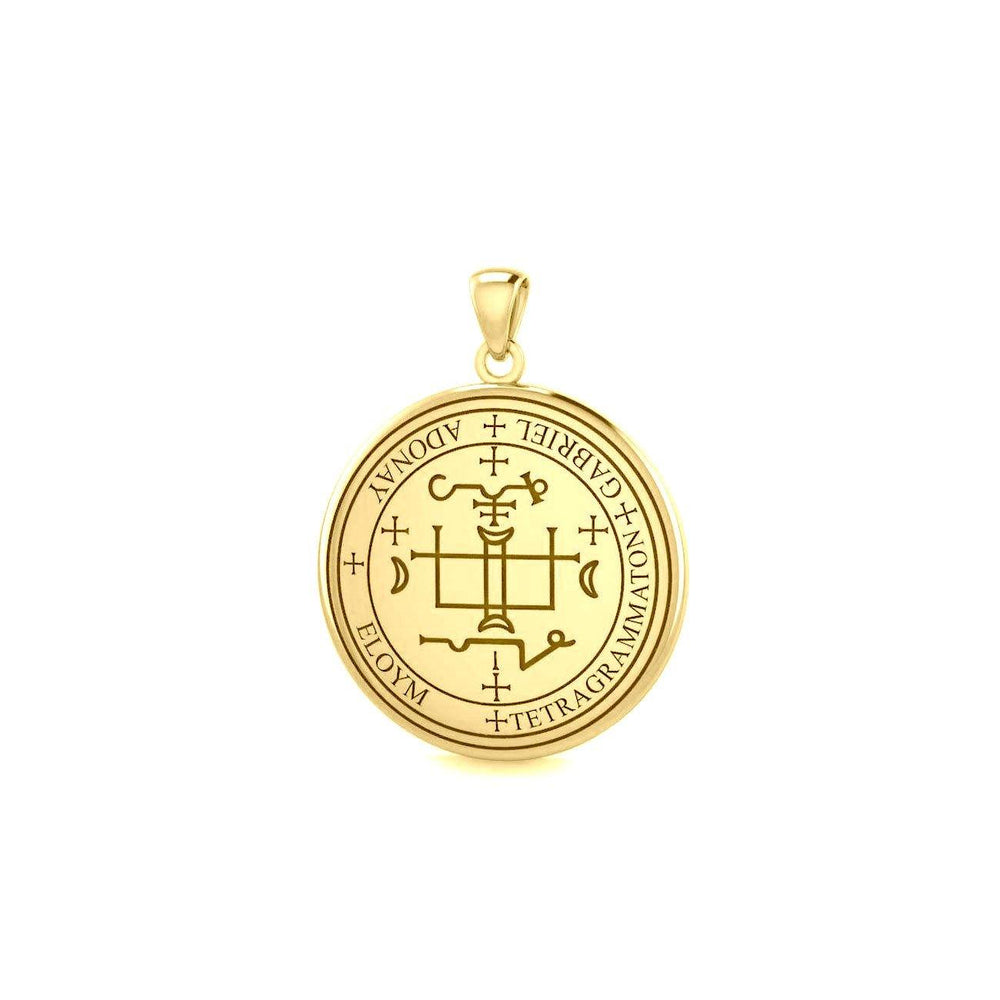 Sigil of the Archangel Gabriel Small Solid Gold Pendant GPD4783