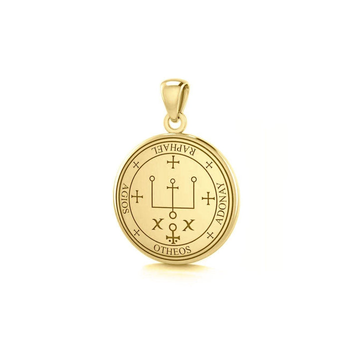 Sigil of the Archangel Raphael Small Solid Gold Pendant GPD4784