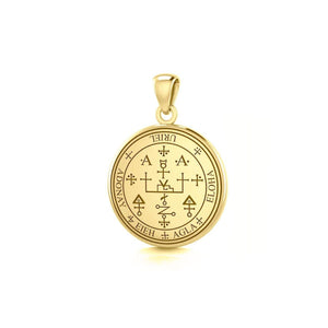 Sigil of the Archangel Uriel Small Solid Gold Pendant TPD4785 peterstone.