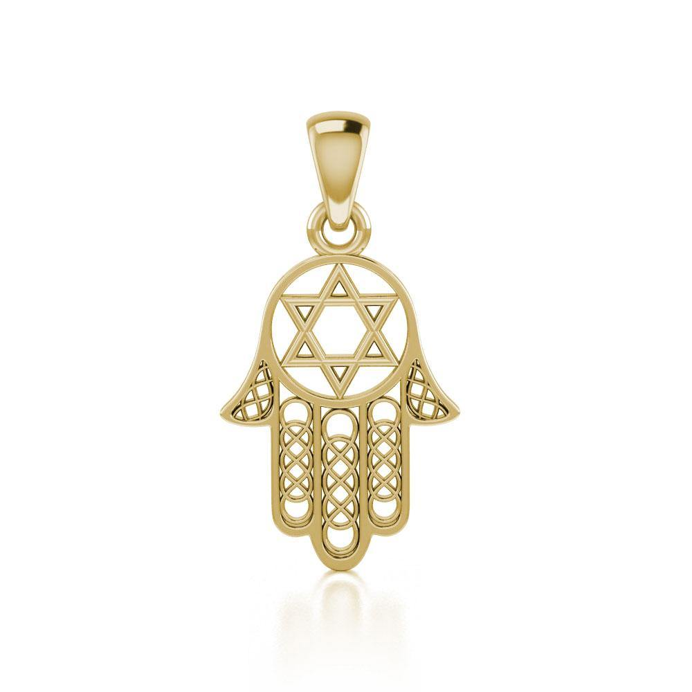 Hamsa Star of David Solid Gold Pendant GPD5090