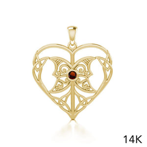 Celtic Triple Goddess Love Peace Solid Gold Pendant with Gemstone GPD5105 peterstone.