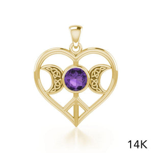 Triple Goddess Love Peace Solid Gold Pendant with Gemstone GPD5106 peterstone.