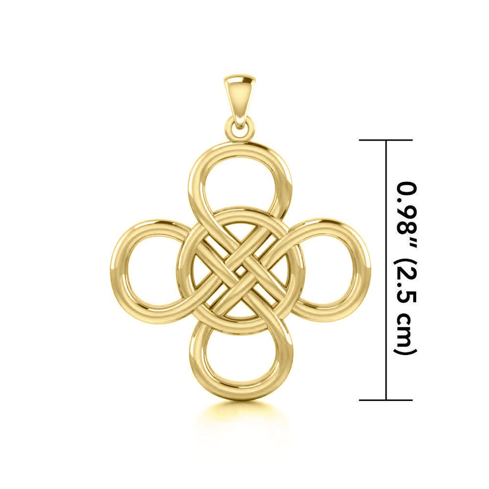 Celtic Four Point Infinity Knot Solid Gold Pendant GPD5131 peterstone.