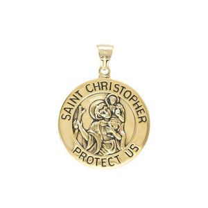 Saint Christoper Solid Gold Pendant (Large 25 mm.) GPD5466 peterstone.