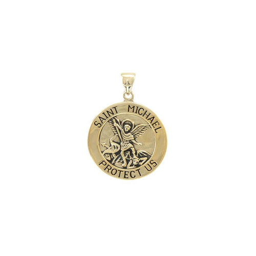 Saint Michael Solid Gold Pendant (Small 18 mm.) GPD5467 peterstone.