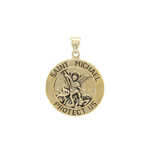 Saint Michael Solid Gold Pendant (Medium 22 mm.) GPD5468 peterstone.