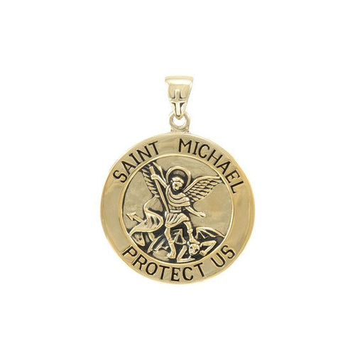 Saint Michael Solid Gold Pendant (Large 25 mm.) GPD5469 peterstone.