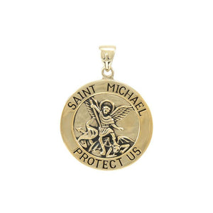 Saint Michael Solid Gold Pendant (Large 25 mm.) GPD5469