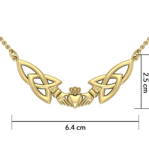 Trinity Knot Claddagh Solid Gold Necklace GTN093 Necklace