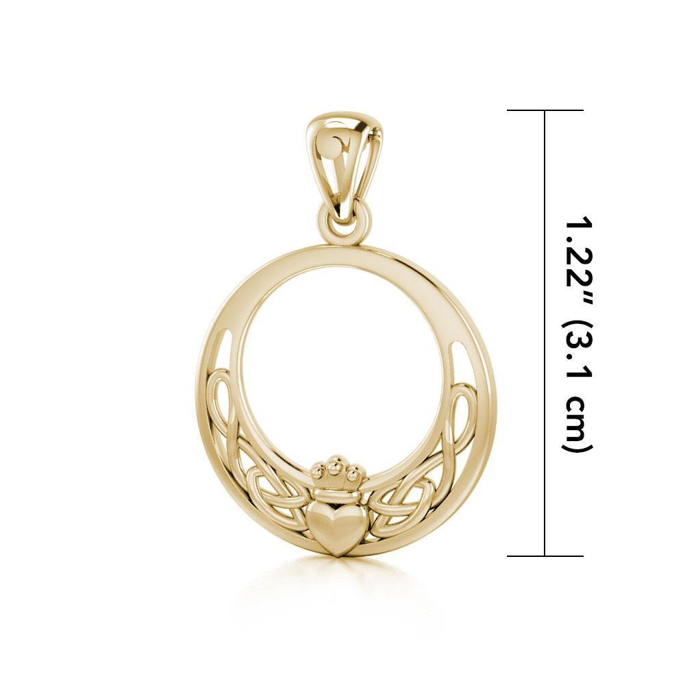 Claddagh and Celtic Knotwork Solid Gold Pendant GTP1442