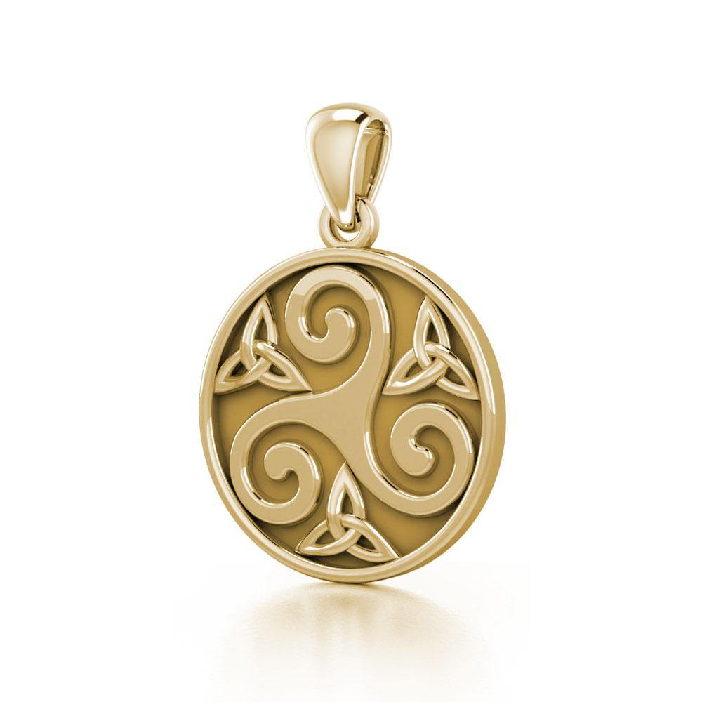 Celtic Triple Spiral Trinity Triquetra Solid Gold Pendant GTP345