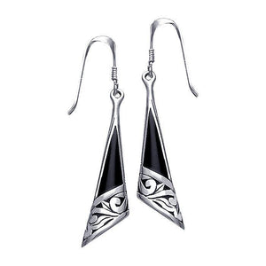 Silver Filigree Earrings with Gem Inlay JE198 peterstone.
