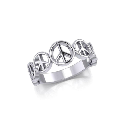 Peace Symbol Silver Band Ring JR064 peterstone.