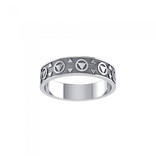 Triangle Silver Band Ring JR163