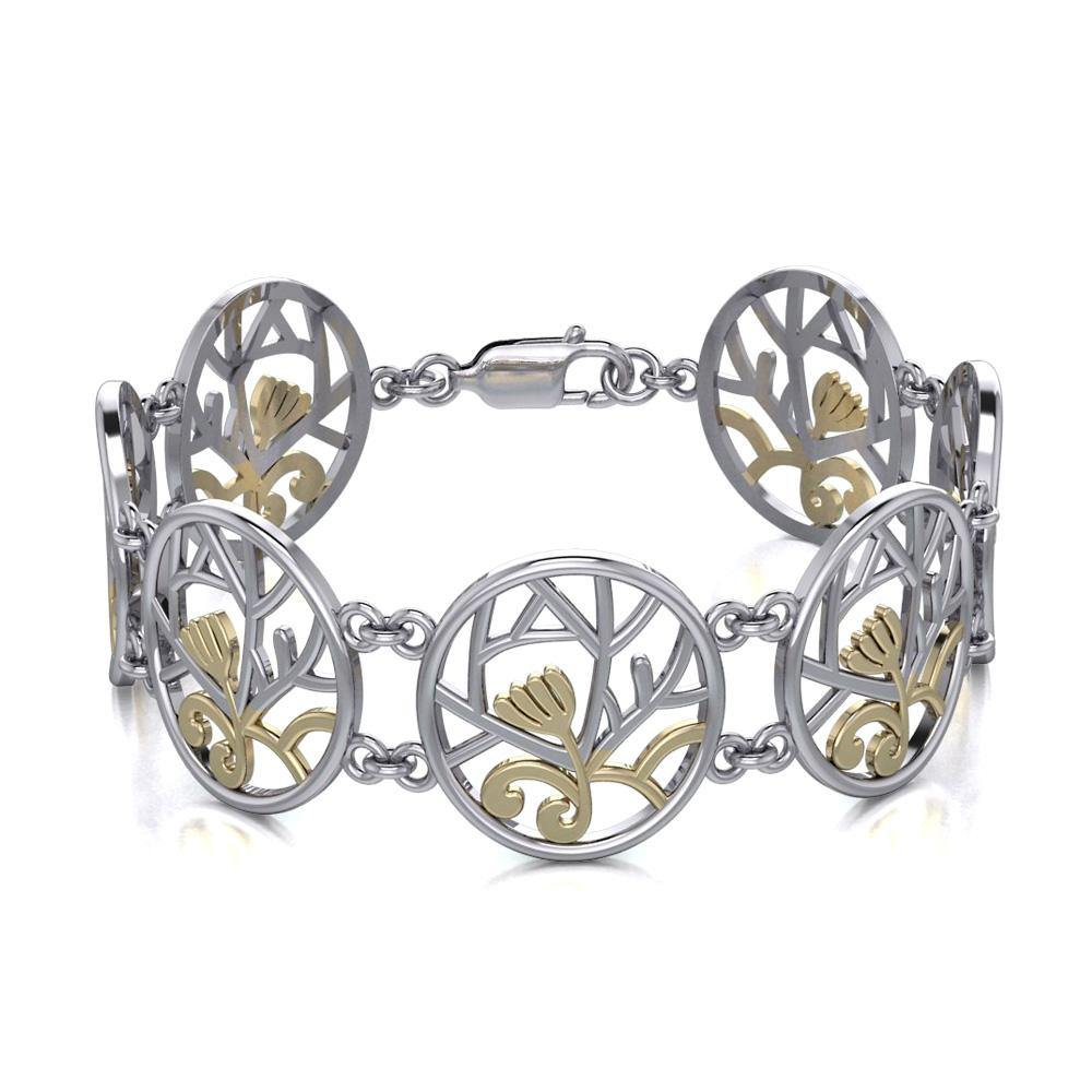We are born to embrace the Tree of Life ~ 14k Gold accent and Sterling Silver Jewelry Bracelet