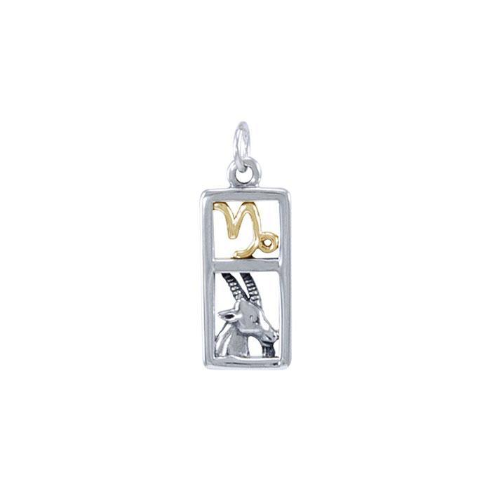 Capricorn Silver and Gold Charm MCM292 peterstone.