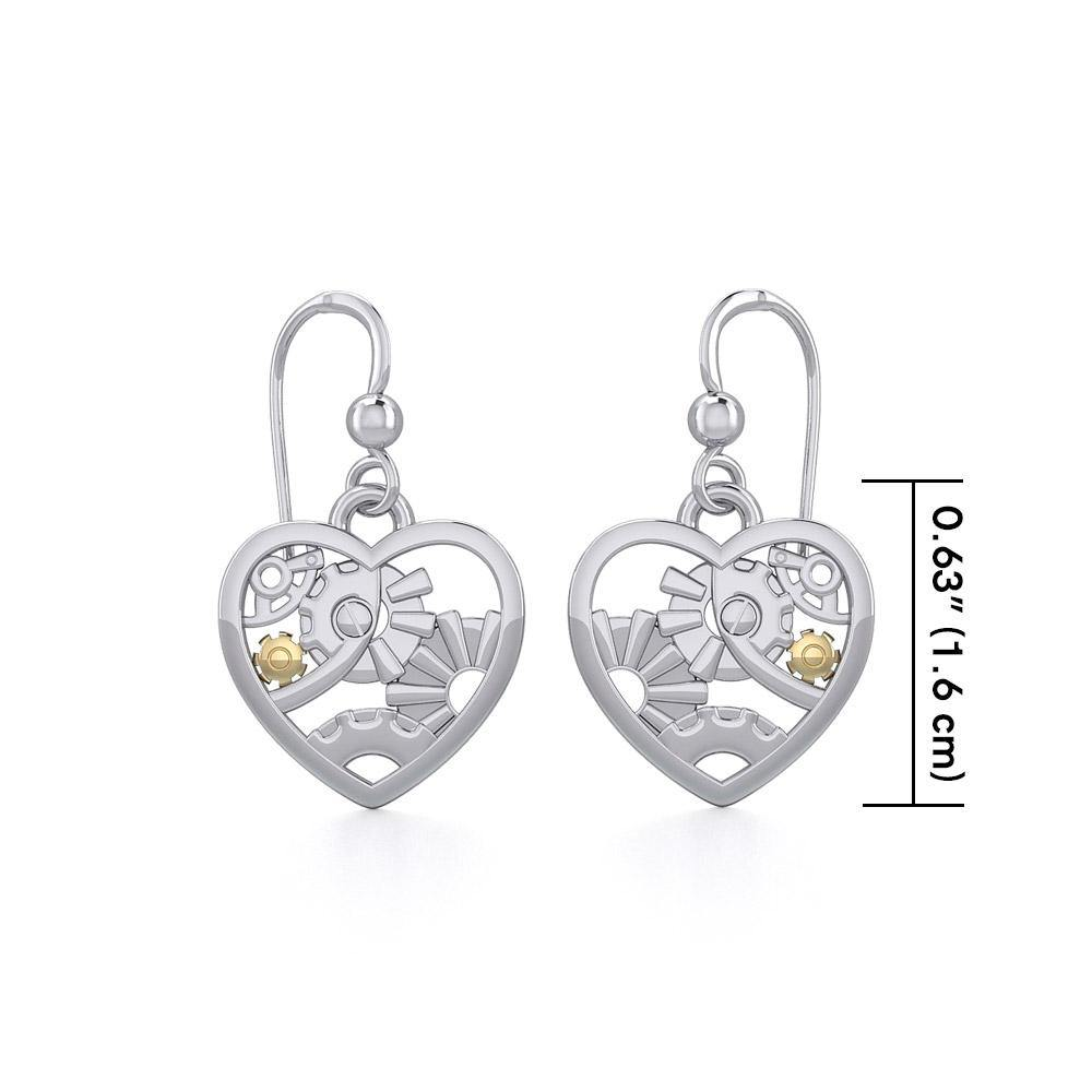 Pure Heart in Steampunk ~ fine Sterling Silver Jewelry in 14k Gold accent MER1354