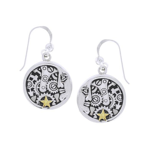 Moon Face Steampunk Silver and Gold Earrings MER1360 peterstone.