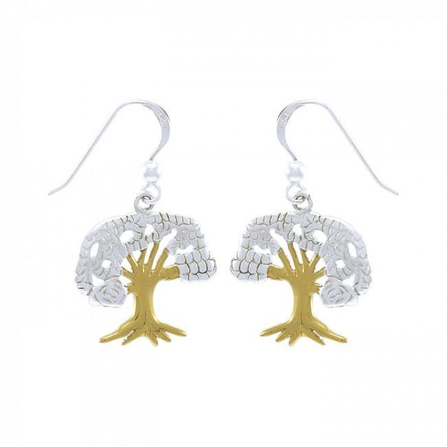Continuous beauty in the Tree of Life ~ 14k Gold accent and Sterling Silver Jewelry Earrings