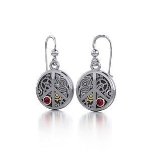 Peace Sign Steampunk Silver and Gold Accent Earrings MER1373 peterstone.