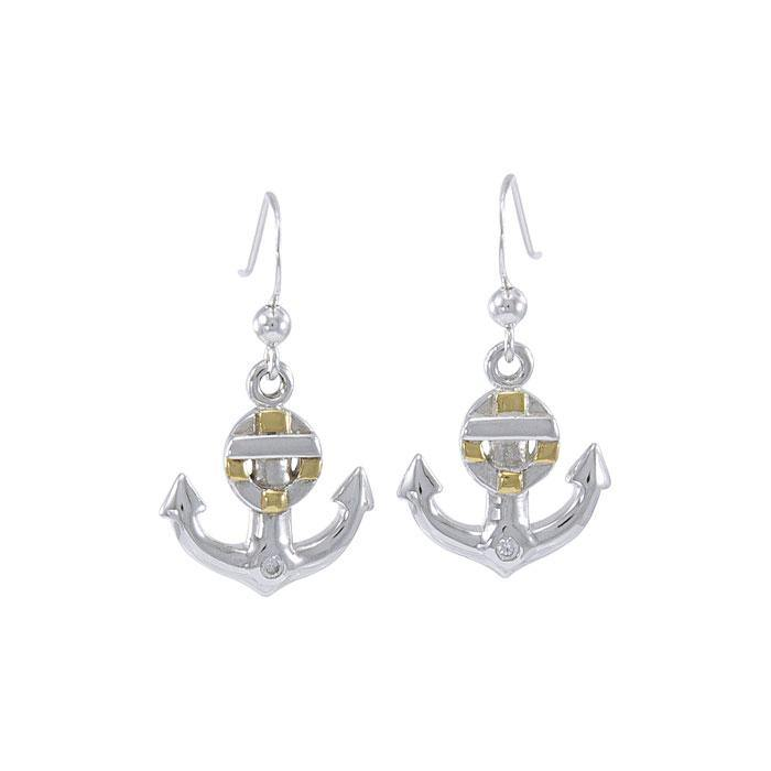 Anchor and Lifebuoy Sterling Silver with Gold Accents Hook Earrings MER1501 peterstone.