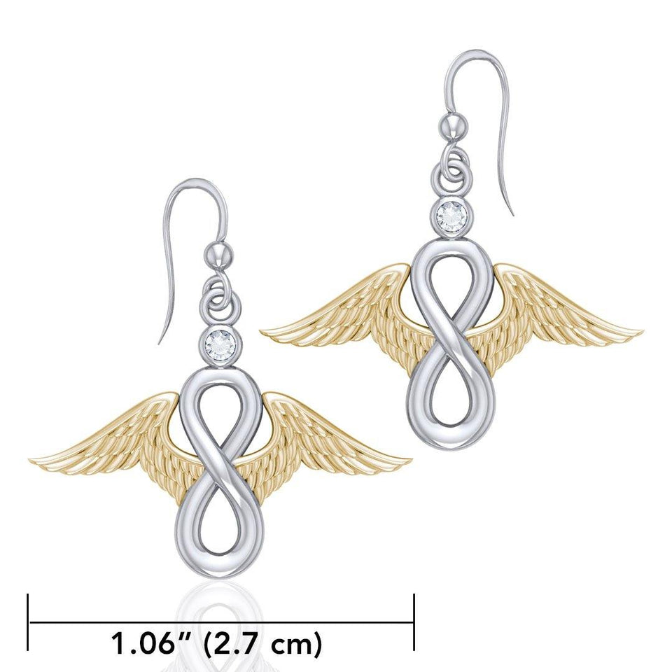 Angel Wings and Infinity Symbol with Gemstone Silver and Gold Earrings MER1665