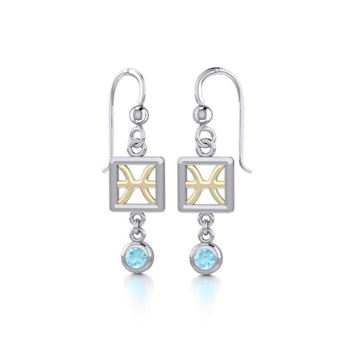 Pisces Zodiac Sign Silver and Gold Earrings Jewelry with Aquamarine MER1768 peterstone.