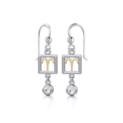 Aries Zodiac Sign Silver and Gold Earrings Jewelry with White Stone MER1769 peterstone.