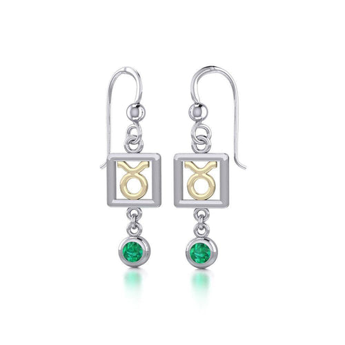 Taurus Zodiac Sign Silver and Gold Earrings Jewelry with Emerald MER1770 peterstone.