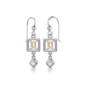 Gemini Zodiac Sign Silver and Gold Earrings Jewelry with Mother of Pearl MER1771 peterstone.
