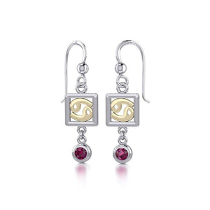 Cancer Zodiac Sign Silver and Gold Earrings Jewelry with Ruby MER1772 peterstone.